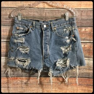 Levi's 501 distressed high waisted frayed shorts